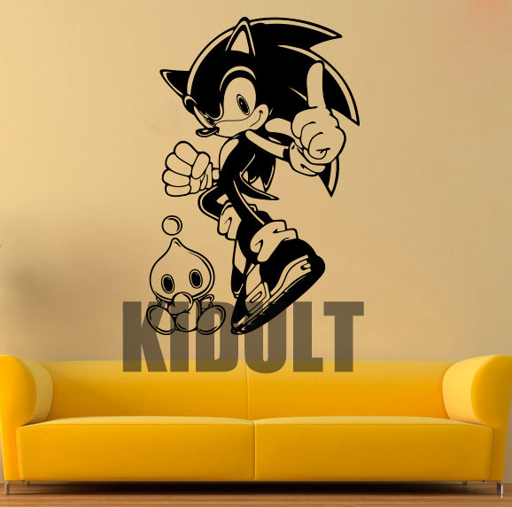 Sonic the hedgehog cartoon wall decals vinyl wall stickers home decor childrens bedroom living room wall wallpaper backdrop in wall stickers from home