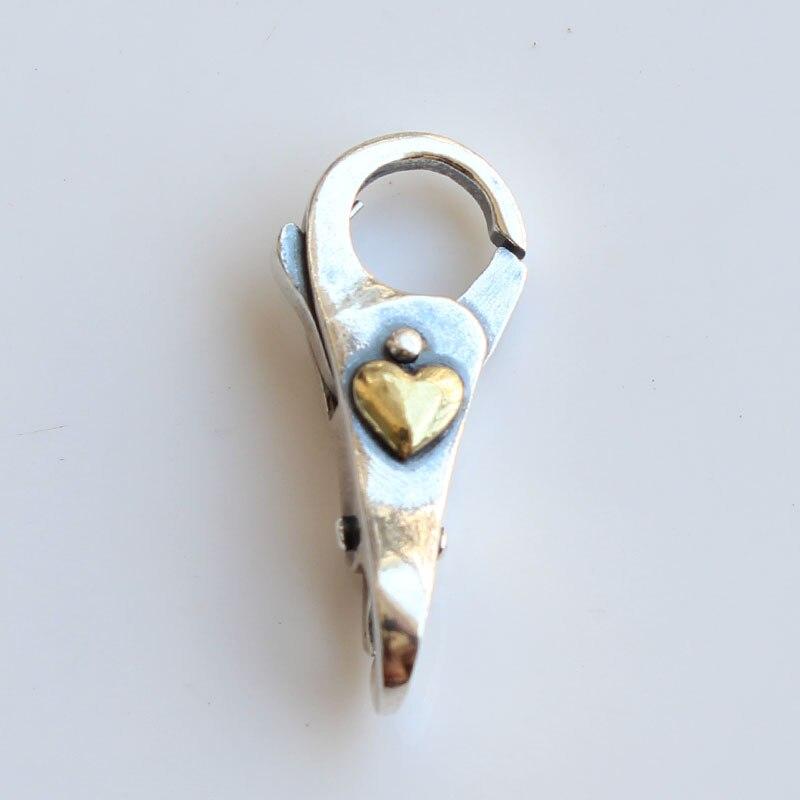 Fermoirs en argent Sterling 925 avec serrure coeur en or pour Bracelet en perles breloques à assembler soi-même