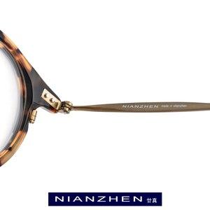Image 3 - B tytanowe okulary z acetatu rama mężczyźni wysokiej jakości Vintage okrągłe oprawki do okularów korekcyjnych oczu okulary dla kobiet okulary okulary 1850