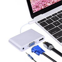 USB C HUB To HDMI VGA 3 5mm Audio Ports For MacBook Pro Pixel HP Asus