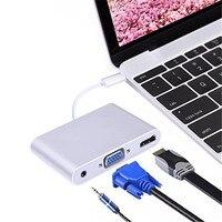 USB C HUB to HDMI VGA 3.5mm Audio Ports for MacBook Pro/Pixel/HP /Asus ZenBook 3/LG V20/Nexus 6P 5X/HTC and TV Video Converter