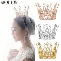 AKOLION Crystal Bride Hair Jewelry Rhinestone Tiaras Bridal Crown Headband Women Headpiece Floral Wedding Hair Accessories