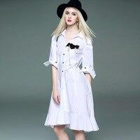 White Dress Female Summer Sundress Elegant Dress For Women Ruffle Jurk Plus Size Dress Shirt Robe