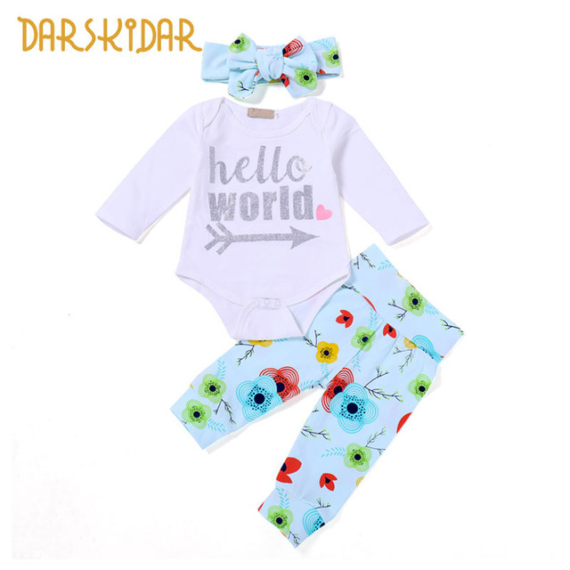8f8504a2de14 3pcs Newborn Baby Boy Girl Clothes Set Spring Long Sleeve Romper ...