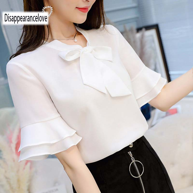 2018 New Women Blouses shirt flare Sleeve Chiffon shirt womens clothing casual V Collar bow women tops Blusas