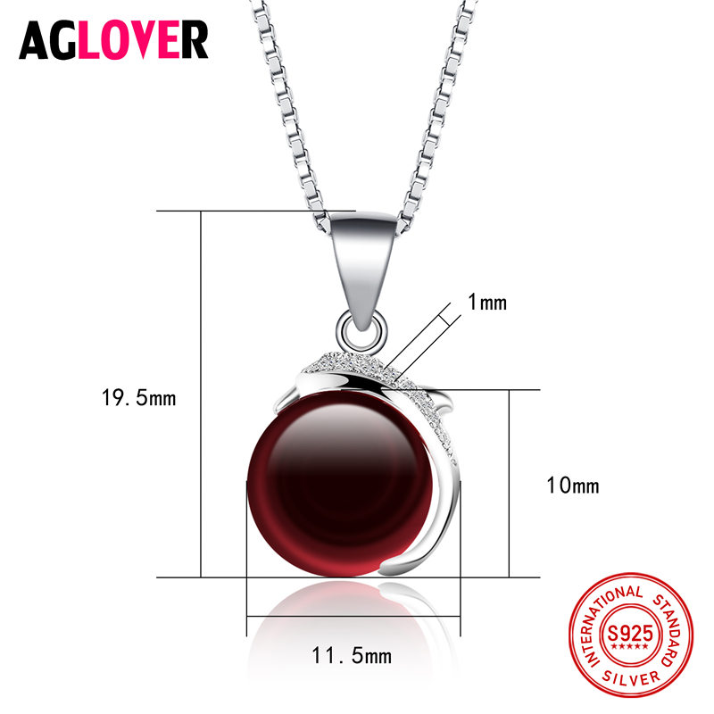 925 Sterling Silver Woman Necklace AAA Red Crystal 10mm Ruby Round Pendant Necklace Female Charm Fashion Jewelry in Necklaces from Jewelry Accessories