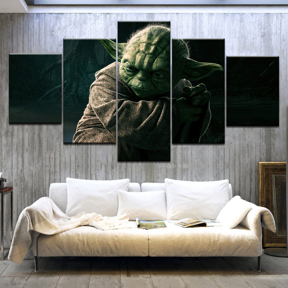 Jedi master yoda Star Wars Movie 5 Panel HD Print modern art wall posters Canvas For home living room decoration image