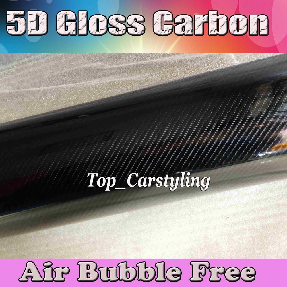 Utral Brillant 5D En Fiber De Carbone Vinyle Comme Réel Brillant Noir de Carbone Fibre Feuilles Bulle D'air Libre PROTWRAPS VINYLE si'ze 1.52x20 m/Rouleau