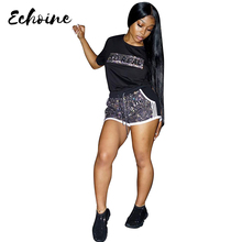 Echoine Women Summer Sequins Splicing REAL Letters Print Two Piece Set Fashion O Neck Short Sleeve Top Shorts Tracksuits