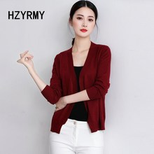 HZYRMY Spring and Autumn New Women's Cashmere Cardigan Fashion V-Neck No buckle Loose Shirt Solid Color Wool Knit Short Jacket