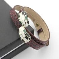 Luxury brand 9 Color Stainless Steel Cuff Bracelets&Bangles Wristband Enamel Bangle Snake head Brand Bangles
