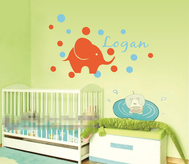 Baby Wall Stickers Custom Personalised Name Elephant Dots Wall Art ...