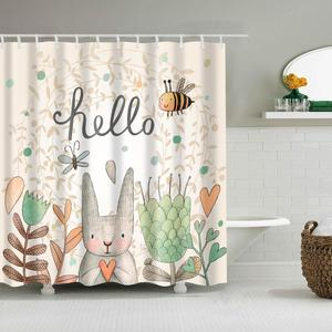 Image 3 - Kids Cartoon Shower Curtain Set Home Decor Owls on a Branch Art Polyester Fabric Bath Curtain with 12 Hooks Shower Curtains