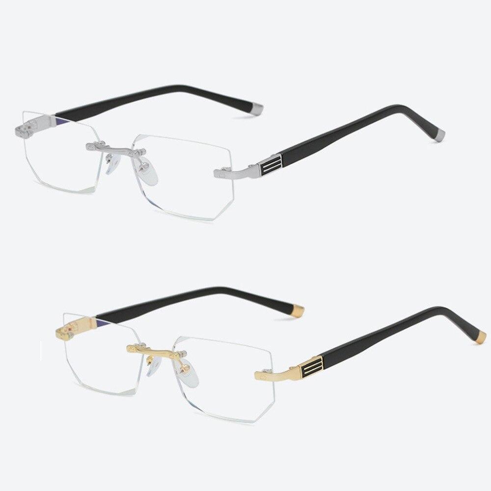Stylish Rimless Reading Glasses Women Men Anti-Blu-Ray Radiation Computer Presbyopia Reader Portable +1+1.5+2+2.5+3+3.5+4