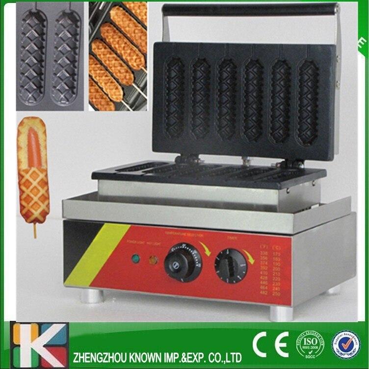 Electric 6 pcs hot dog waffle machine/ waffle stick hot dog making machine electric muffin corn dog waffle making machine lolly hot dog waffle machine