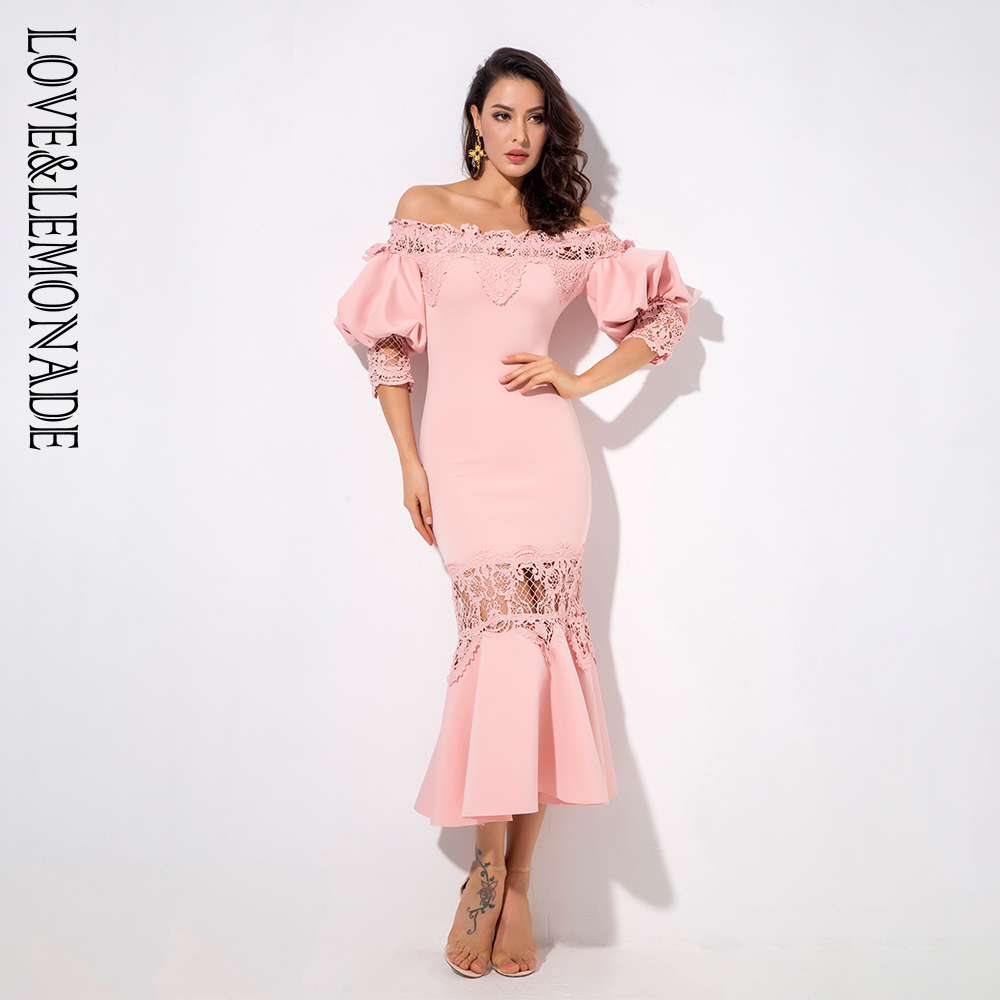 Love&Lemonade Pink Drop Shoulder Lace Panel Lantern Sleeve Party Dress LM1200