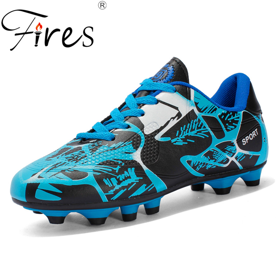 Spring Breathable PU Men and Kids Soccer Shoes Long Spikes Anti-slip Training Football Shoes Lacing Spot Boy,girl Football Shoes