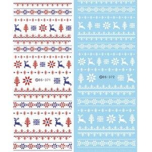 Image 5 - 1 arkusz motyw świąteczny kalkomanie do paznokci woda zimowa naklejki do przenoszenia płatków śniegu Xmas Deer Nail Art Slider tatuaż naklejany dekoracja