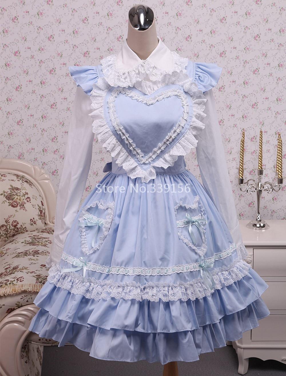 New Fashion Hot Sale Cotton White Lolita Blouse And Blue Sweet Lolita Dress