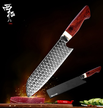 XITUO Damascus Steel Chef Knife 6.5 inch 110 Layer Kitchen Meat Cleaver Fish sushi Knife Japan Santoku Rose Home Cooking knives