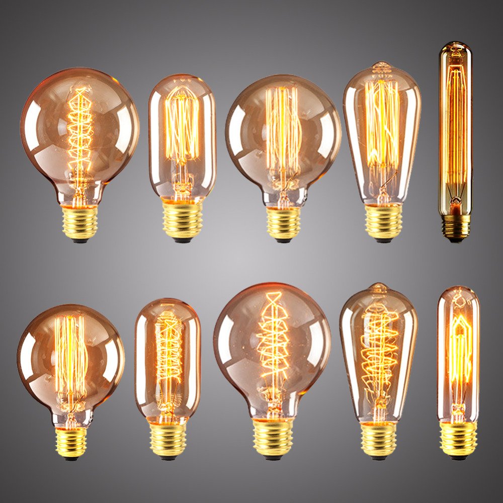 Vintage Edison Filament Bulb Retro Lamp E27 220V 40W Ampoule Lampada Incandescent Light Antique T10 T30 G95 T45 ST64 Decoration