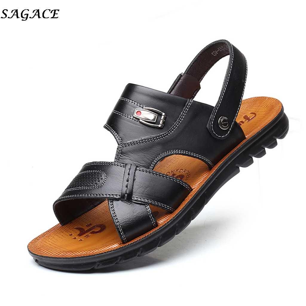 SAGACE erkek ayakkabısı 2019 Yeni Yaz Deri Flip Flop Erkekler Roma Açık plaj ayakkabısı Marka Rahat rahat sandalet Büyük Boy #30