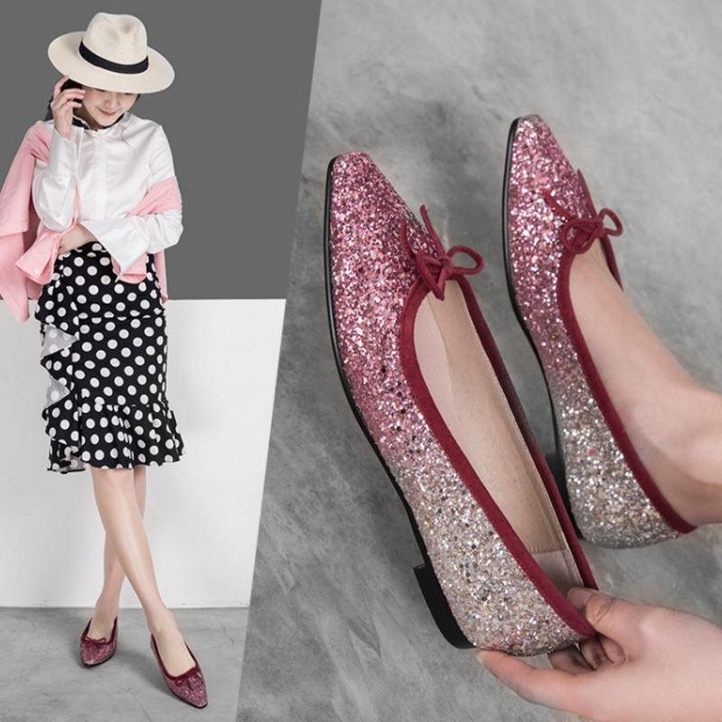 Chaussures Mode En rose Haute Noir Appartements Cuir Bowknot Qualité 35 Femmes Taille De argent 42 Bling Dames Véritable Rizabina A0P5TqnX5