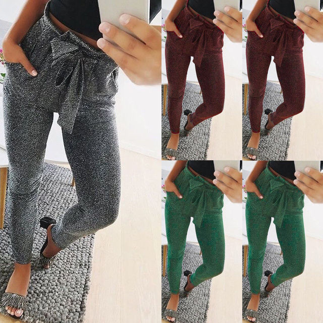 HIRIGIN Newest 2018 Hot Womens Long Pants High Waist Skinny Lace Up Trousers Casual Fashion Ladies Pencil Pant