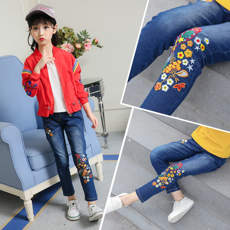a92e834d7 Artishare Kids Girls Jeans Floral Embroidery Kids Girl Jeans Big Children  Skinny Jeans Denim Teen Clothing For Girls 6 8 12 Year-in Jeans from Mother  & Kids ...