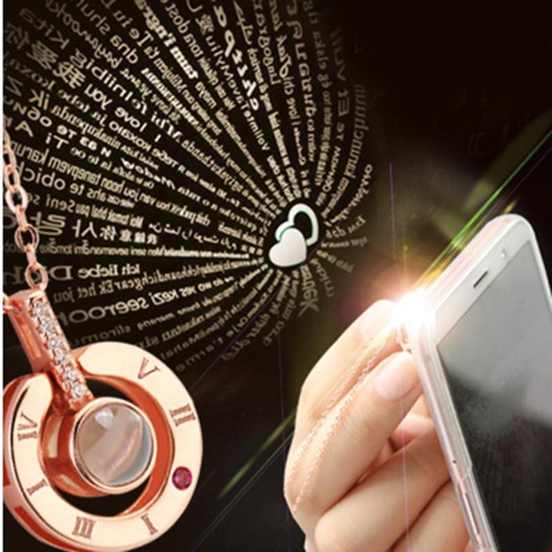 200 Pieces 100 languages I love you Projection Pendant Romantic Love Memory Wedding Necklace WholesalePendant Necklaces   -