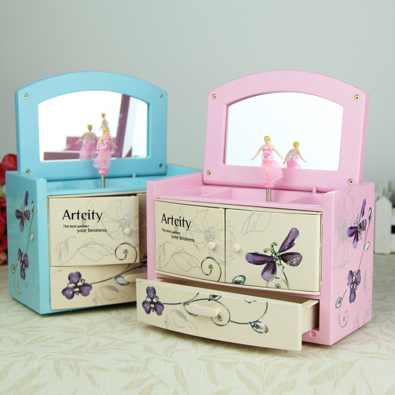 New Music Box Makeup Jewel Case Carry Rotation Dance Ballet Girl Craftwork Home Desktop Decorations Birthday Gift L1811