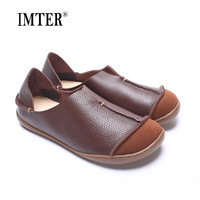 Hand Made Sowing New Womens Flats Shoes Genuine Leather Round Toe Loafers Rustic Simplicity