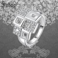Wedding Bands Rings Square White CZ Pave, 925 Sterling Silver Romantic Gift for Women Men Boy Girls Lady, 2019 Jewelry thomas