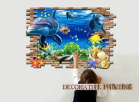 NEW Wall Paintings 3D Three Dimensional Wall Stickers Dolphins Wall Sticker For Home Hotel Room Bathroom
