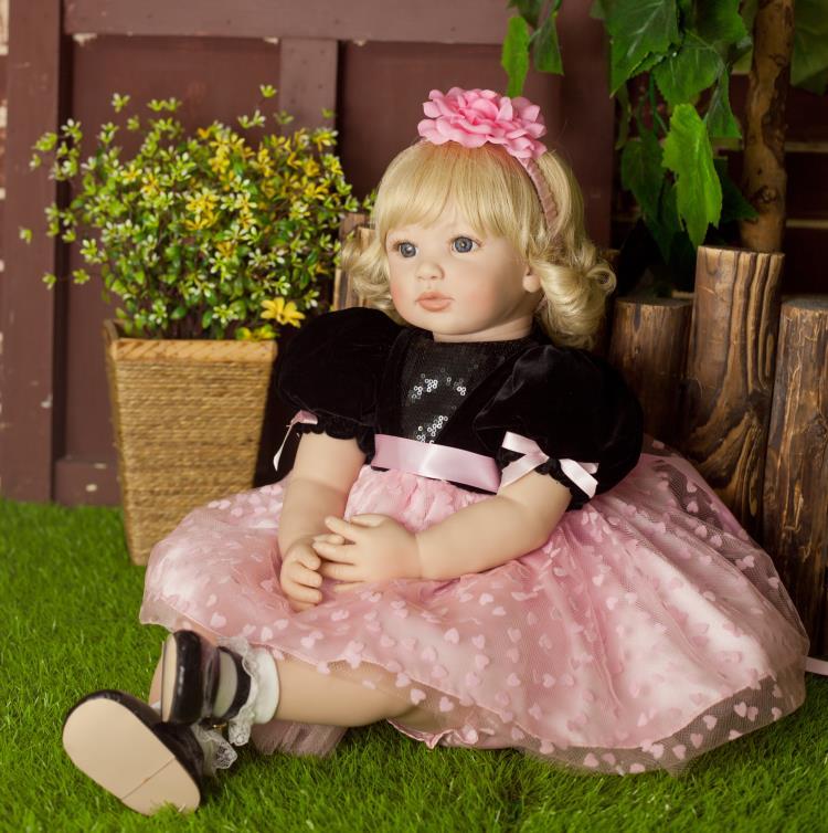 أحدث جديد 60 سنتيمتر اليدوية الفينيل سيليكون تولد من جديد دمية طفل لعبة الوليد فتاة الرضع الأزياء Bebes تولد من جديد دمى للأميرة الطفل-في الدمى من الألعاب والهوايات على  مجموعة 2