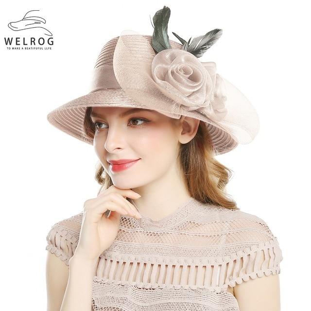 f818f92d WELROG Khaki Color Yarn Church Hats For Women Big Bow Feather Flower Summer  Sun Protect Hat Elegant Fedoras Wedding Sea Beach