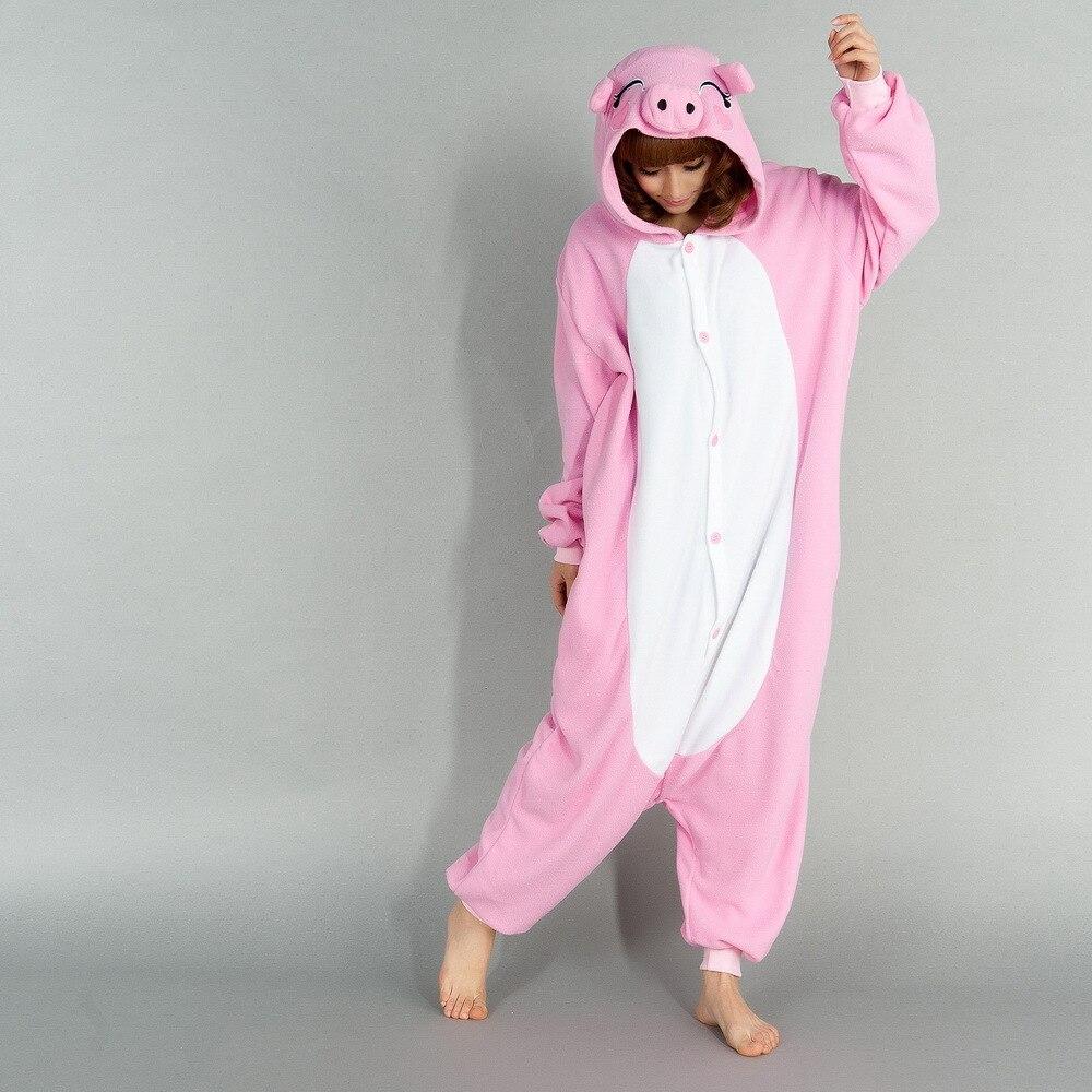 Fleece Pink Pig Cosplay Pajamas Unisex Adult Women Animal ...