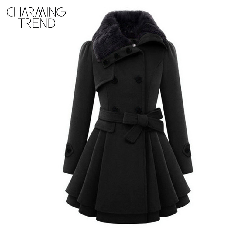 Charmingtrend women coat winter autumn with belt brief women coat fashion style long sleeve red fashion