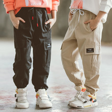 Casual Boys Cargo Pants Autumn 2019 Pocket Trousers for Kids Cotton Children Clothing Solid Black and Khaki Pant 4t 8 12 13 Year цена