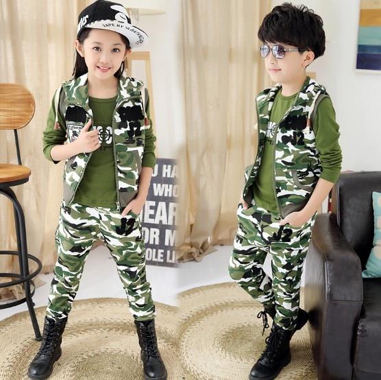 Children Camouflage Clothing 3 Pcs 2018 Boys Girls Fashion Army Uniform Sports Set Kids Tracksuit Waistcoat+T-shirt+Pants G219 2016 summer boys short sleeved t shirt two piece children s sports suit camouflage uniforms boys