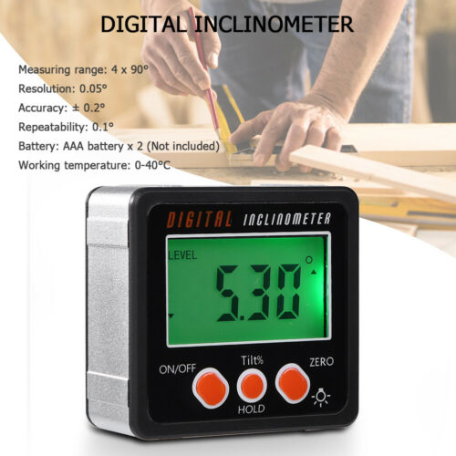 Digital Angle Gauge Protractor Inclinometer Gage Accurate Measuring 0 - 360°