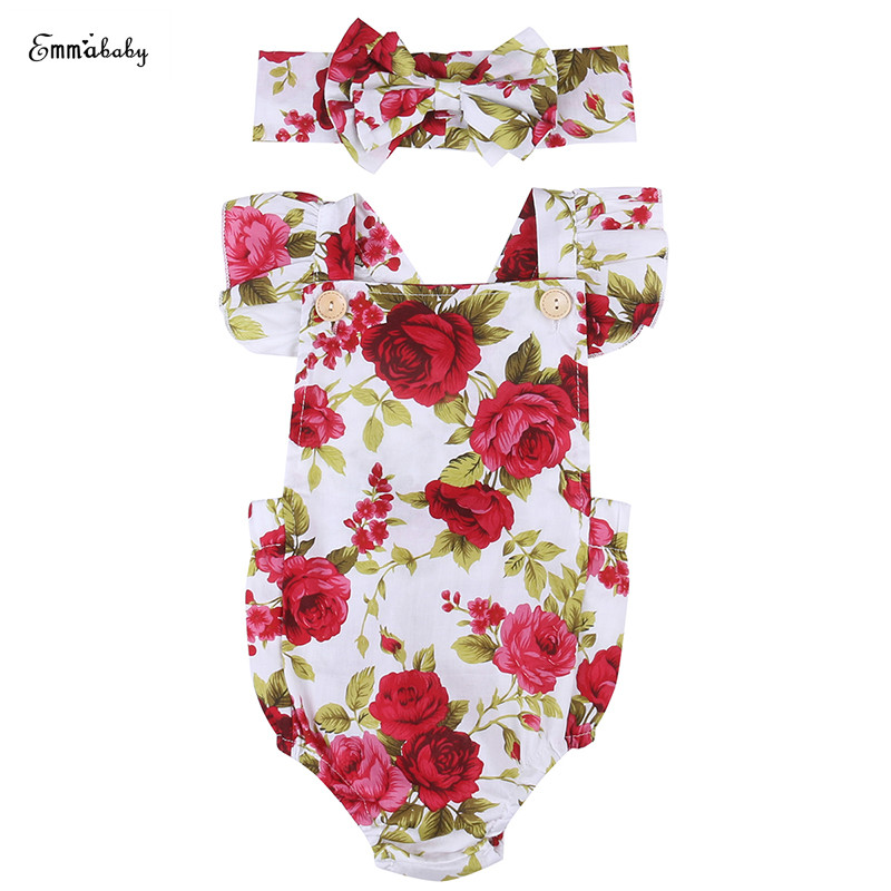 Emmababy Newborn Infant Baby Girl Floral Clothes Ruffles Sleeveless Backless Princess   Romper   Jumpsuit+Headband 2PCS Sunsuit