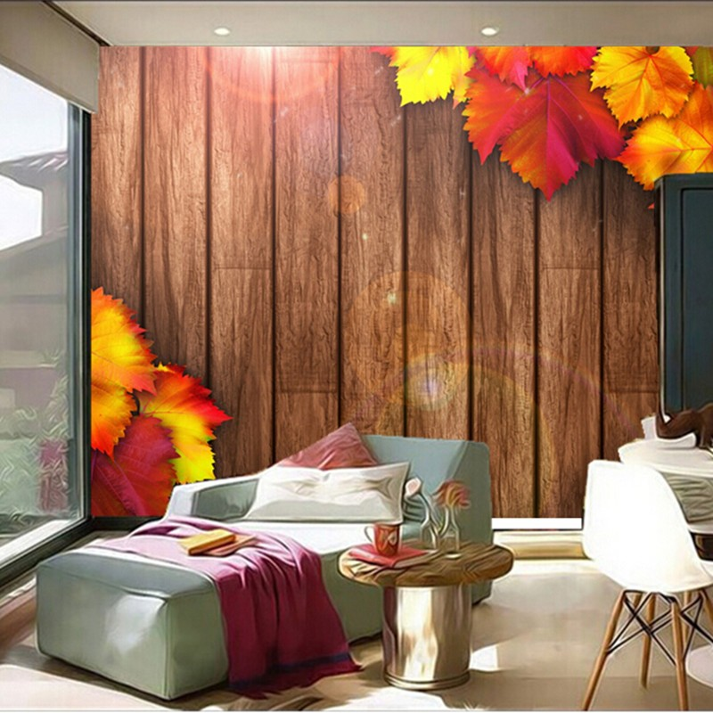 The custom 3D murals,Autumn Foliage Wooden Boards autumn leaves papel de parede,living room sofa TV wall bedroom wall paper the custom 3d murals the new york times center building street black and white living room sofa tv wall bedroom wall paper