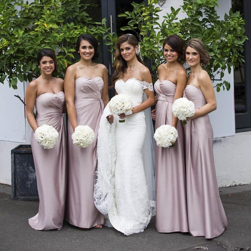 Por encargo de dama de honor larga vestidos de dusty pink novia piso-longitud 20