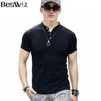 Summer New Arrival Fashion Brand Men S Short Sleeved V Neck Solid Cotton T Shirt With