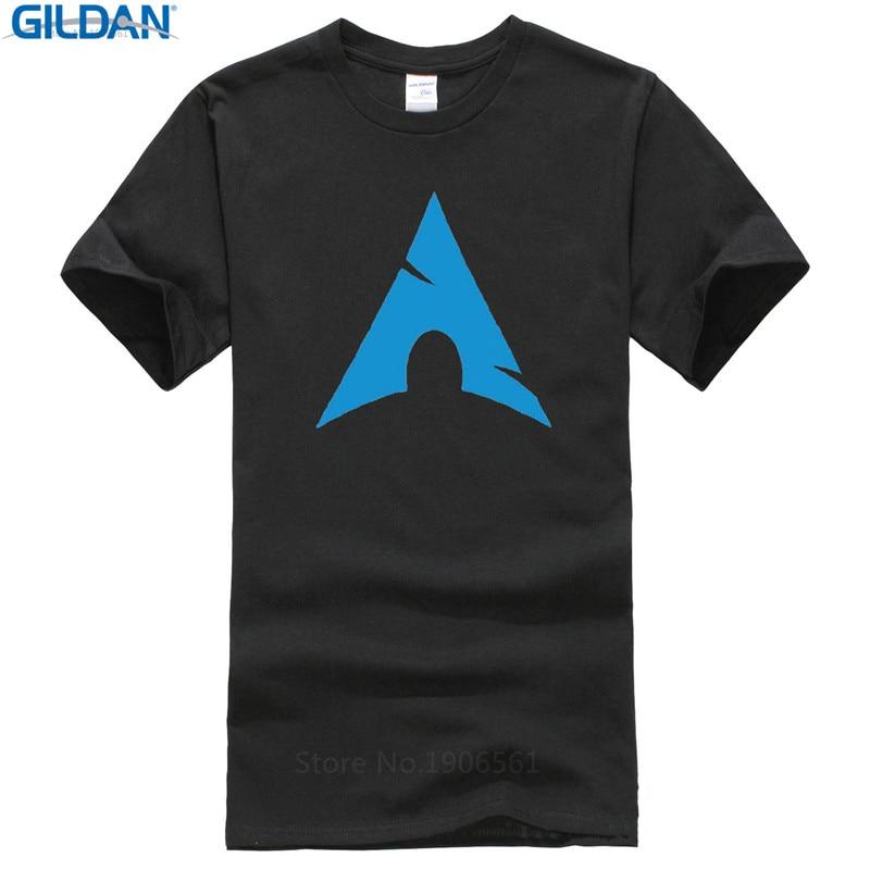 Fashion 100% Cotton T Shirt Short Sleeve Funny Crew Neck Mens Arch Linux Logo T Shirts