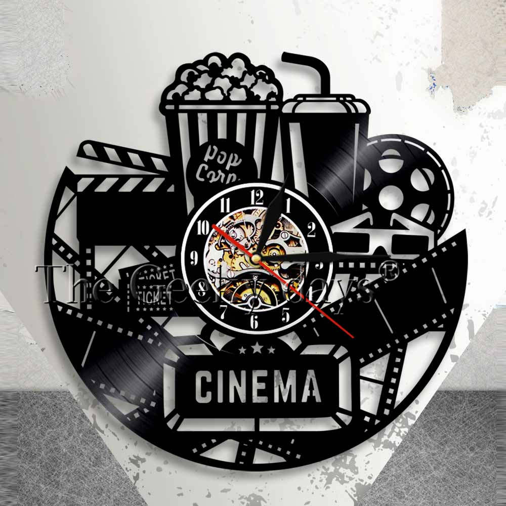 super popular 4f055 63f40 Cinema Production Clock Movie Theater Sign Popcorn Vinyl Record Wall Clock  Watching Film Vintage Wall Decor Movies Lovers Gift