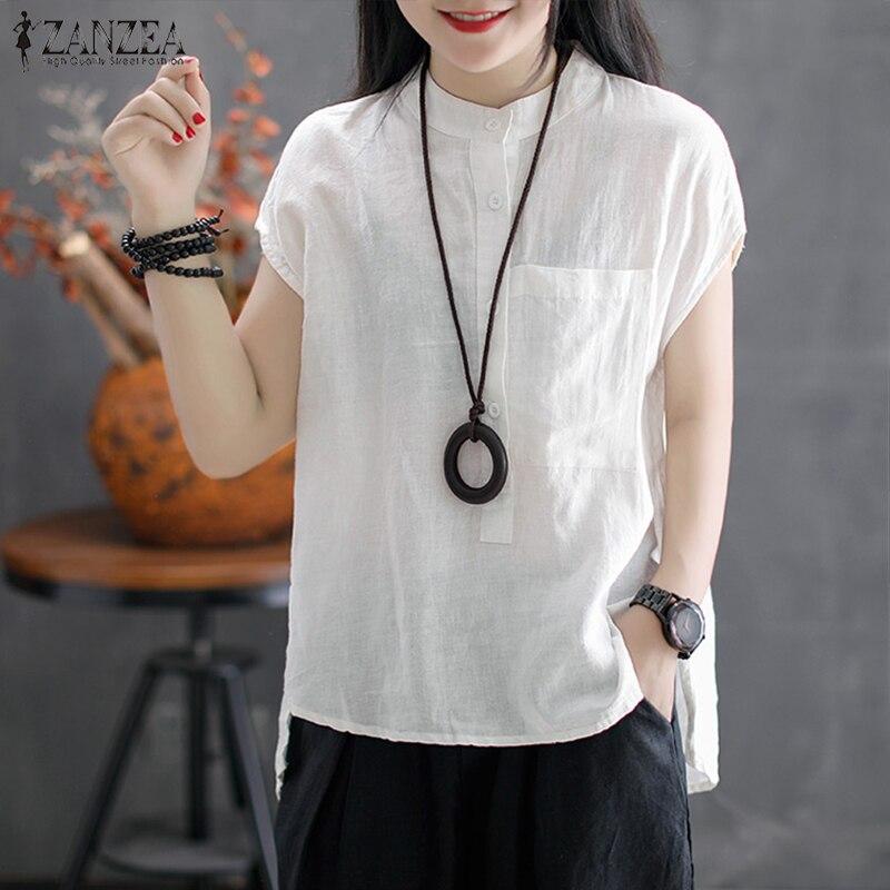 ZANZEA 2019 Summer Women Short Sleeve Buttons   Blouse   Casual Cotton Linen Mandarin Work White   Shirt   Irregular Hem Top Blusas 5XL