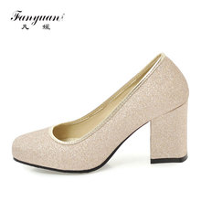 Fanyuan Sweet Square Toe Woman Shoes Pumps Comfort Women Thick High Heel Shallow Slip-On Ladies Work Silver Purple