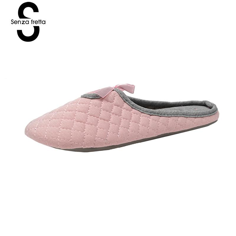 Senza Fretta Shoes Women Cotton Slippers Soft Home Slippers Indoor Slippers Butterfly Knot Design Slip On Women Shoes All Season цены